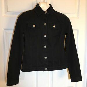 Baccini Black Stretch Denim Jacket Size S